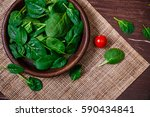 spinach leaves in bowl. cherry... | Shutterstock . vector #590434841