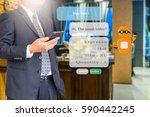 chatbot concept. business man... | Shutterstock . vector #590442245