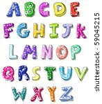 hand drawn colorful vector abc... | Shutterstock .eps vector #59045215