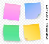 set of color sheets of note... | Shutterstock .eps vector #590458595