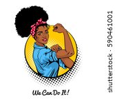 we can do it. pop art sexy... | Shutterstock .eps vector #590461001