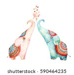 Stock photo watercolor pair of lovely elephants isolated on white background love concept in cartoon style 590464235