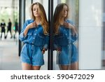 street style. beautiful woman... | Shutterstock . vector #590472029
