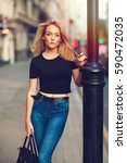 street style. beautiful woman... | Shutterstock . vector #590472035