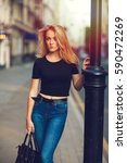 street style. beautiful woman... | Shutterstock . vector #590472269