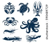 seafood  marine animal icon set.... | Shutterstock .eps vector #590489729