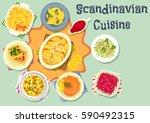 scandinavian cuisine dinner... | Shutterstock .eps vector #590492315