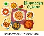 moroccan cuisine traditional...   Shutterstock .eps vector #590492351
