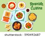 spanish cuisine dinner menu...   Shutterstock .eps vector #590492687