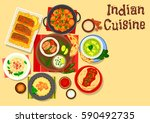 indian cuisine chicken and fish ... | Shutterstock .eps vector #590492735
