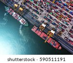 container ship in export and... | Shutterstock . vector #590511191