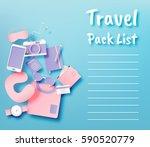 travel items packing list paper ... | Shutterstock .eps vector #590520779
