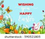 easter egg hunt rabbit poster.... | Shutterstock .eps vector #590521805