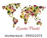 exotic fruit world map poster... | Shutterstock .eps vector #590522375