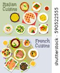 italian and french cuisine icon ... | Shutterstock .eps vector #590522555