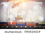 trade port and exports worldwide | Shutterstock . vector #590524319