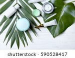 natural cosmetics and leaves on ... | Shutterstock . vector #590528417