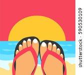 a woman or female's feet vector ... | Shutterstock .eps vector #590530109