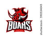 furious boar sport club vector... | Shutterstock .eps vector #590534045
