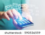 concept view of sending email...   Shutterstock . vector #590536559