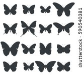 set of butterfly shapes... | Shutterstock .eps vector #590540381
