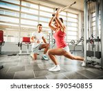 young female with sport body... | Shutterstock . vector #590540855