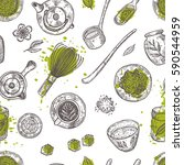 seamless pattern with matcha... | Shutterstock .eps vector #590544959