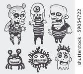 funny characters set. vector... | Shutterstock .eps vector #59054722