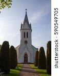 the new church in kalla on... | Shutterstock . vector #590549705