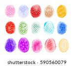 easter hand drawn eggs  with... | Shutterstock .eps vector #590560079