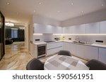 modern white kitchen clean... | Shutterstock . vector #590561951