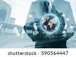 double exposure of success... | Shutterstock . vector #590564447