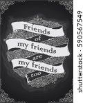 chalkboard friends quote banner | Shutterstock .eps vector #590567549