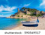 beach at tossa de mar and... | Shutterstock . vector #590569517
