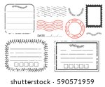 blank postal stamps set... | Shutterstock .eps vector #590571959