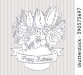 vector sketch with happy... | Shutterstock .eps vector #590575697
