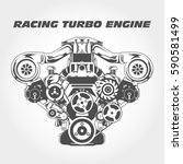 racing engine with supercharger ... | Shutterstock .eps vector #590581499