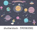 the solar system. vector... | Shutterstock .eps vector #590583581