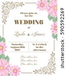 wedding invitation with flowers ... | Shutterstock .eps vector #590592269