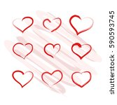 hearts painted. red hearts. | Shutterstock .eps vector #590593745