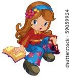 cute girl   Shutterstock .eps vector #59059924