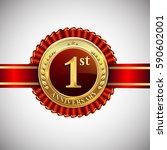 celebrating 1st anniversary... | Shutterstock .eps vector #590602001