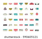 vector set with stylish vogue... | Shutterstock .eps vector #590605121