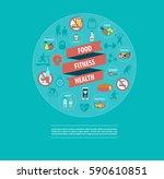 fitness  sport  food  health... | Shutterstock .eps vector #590610851