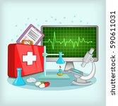 medicine concept. cartoon... | Shutterstock .eps vector #590611031