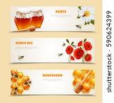 three horizontal isolated honey ...