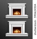 set of 2 modern white indoor... | Shutterstock .eps vector #590624504