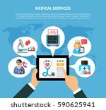 flat design with online medical ... | Shutterstock .eps vector #590625941