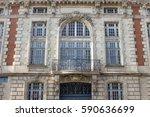 vintage building facade with... | Shutterstock . vector #590636699