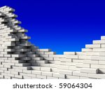 incomplete white brick wall on... | Shutterstock . vector #59064304